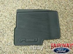 10 thru 14 Ford F-150 OEM Black Rubber Floor Mat 3-pc Crew Cab with Sub-Woofer