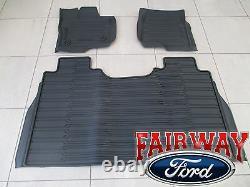 15 thru 20 F-150 OEM Genuine Ford Tray Style Molded Floor Mat Set 3-pc CREW CAB