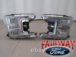 18 thru 20 F-150 OEM Genuine Ford Chrome LED Head Lamps Lights PAIR of RH & LH