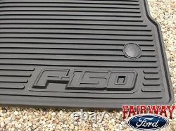 10 À 14 Ford F-150 Oem Black Rubber Floor Mat 3-pc Crew Cab Avec Sub-woofer